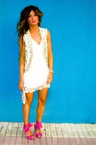 pink Miss Sixty shoes - white Topshop dress - Manoush bag - gold papaya vest