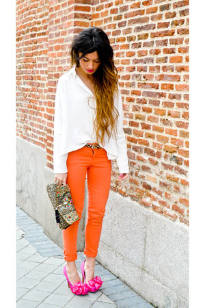 Accesorize purse - asos shoes - orange Zara pants - Queens Wardrobe blouse