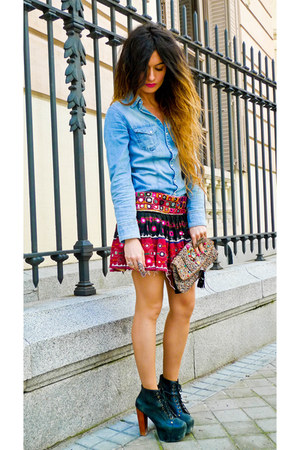 denim H&M shirt - lita Jeffrey Campbell shoes - Accesorize purse