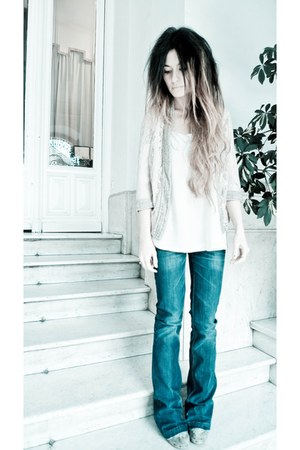 off white silk Topshop shirt - blue Serfontaine jeans