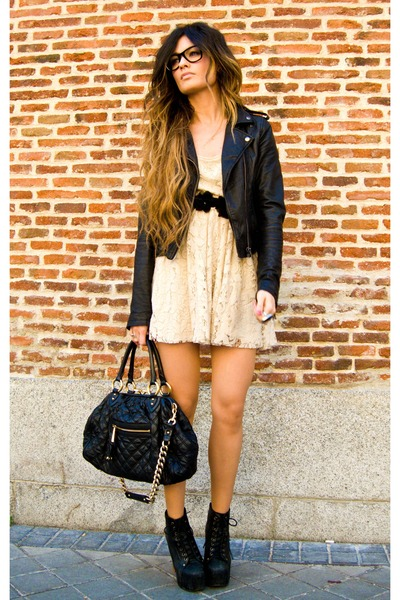 lita Jeffrey Campbell shoes - lace Zara dress - leather Topshop jacket