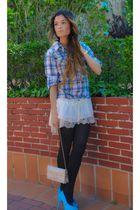 blue Primark shoes - beige Topshop dress - squares Primark shirt - gold dior bag