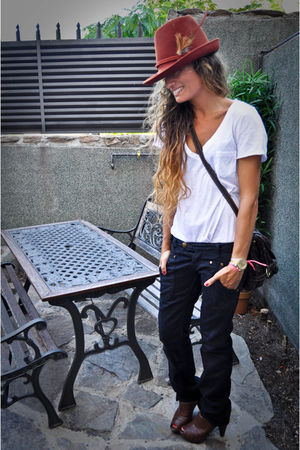 brown Zara hat - black REPLAY jeans - brown Louis Vuitton purse