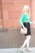 turquoise blue emerald Gap blouse - black rosette Karen Kane skirt