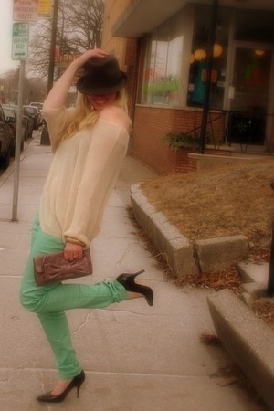 mint Forever 21 jeans - Maurices hat - Maurices purse
