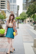 tweed Len jacket - Buffalo Exchange dress - mustard primp bag