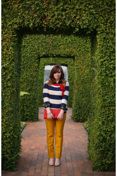 plaid chicnova shirt - striped Joules sweater - yellow Loft pants