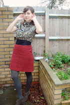 army green Clarks shoes - gray tights - green floral Pepe Jeans blouse - ruby re