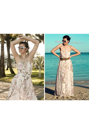 floral maxi Sheinside dress - studs Born Pretty Store earrings
