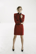 vintage Military couture oxblood dress