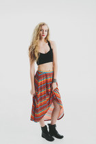 Vintage New Southwest Aztec Hi Low Hem Skirt Boho Chic size s-m