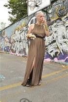 light brown Zara dress - Zara necklace - black leather sandals Zara heels