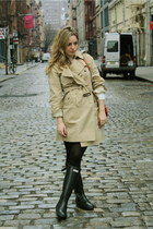 black Hunter boots - dark khaki Burberry coat - red Chloe bag