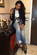Danny Roberts t-shirt - PRPS jeans - black Zara blazer - Louis Vuitton purse