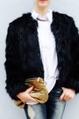 Gold-bag-black-fur-coat-teal-jeans-white-shirt