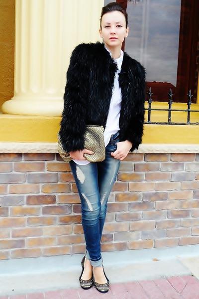 black fur coat - teal jeans - white shirt - gold bag