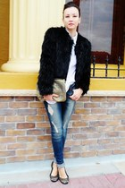 black fur coat - teal jeans - white shirt - gold bag