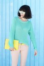 Aquamarine-sunglasses-aquamarine-sweater-light-pink-pants