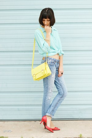 gold OASAP bracelet - sky blue jeans - light yellow bag - black OASAP ring