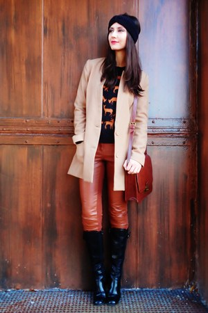 black H&amp;M sweater - black boots - tan H&amp;M blazer - brick red bag