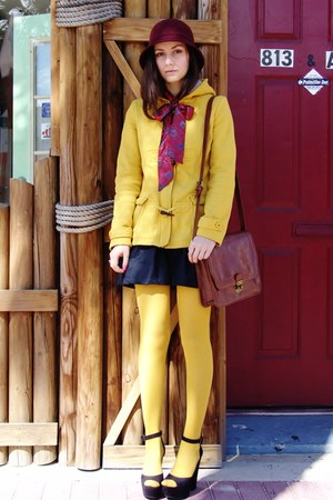 mustard windsor coat - maroon hat - mustard Target tights - brick red bag