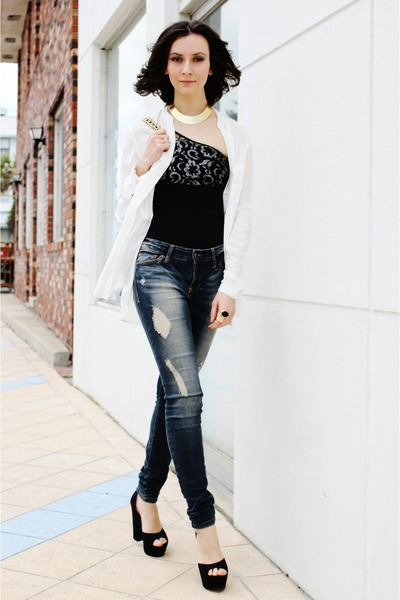 white shirt - blue jeans - black Vedette bodysuit - black heels - gold ring