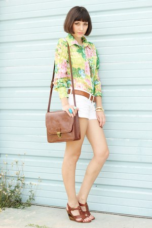 shirt - bag - shorts - wedges