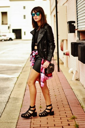 black quilted Sheinside jacket - ruby red plaid vintage shirt