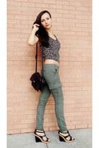 army green khaki pants - black wedges