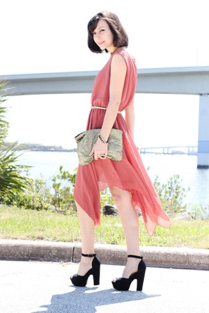 gold Sequin bag - black shoes - coral Love dress - gold arty ring