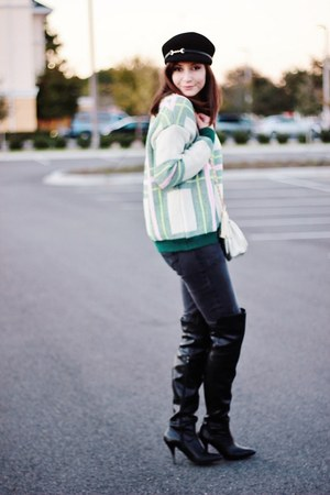 black over the knee Forever21 boots - green tartan PERSUNMALL sweater