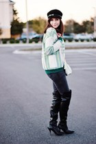 green tartan PERSUNMALL sweater - black over the knee Forever21 boots
