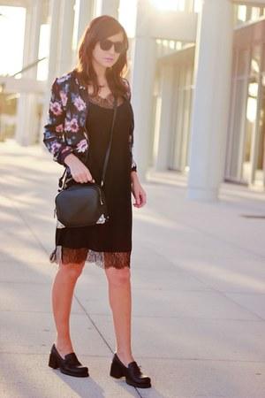 black lingerie H&M dress - magenta Sheinside jacket - black H&M bag