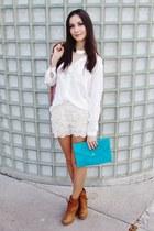 turquoise blue bag - burnt orange shoes - white shirt - eggshell OASAP shorts