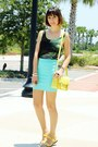 Light-yellow-bag-chartreuse-galaxy-romwe-top-aquamarine-forever-21-skirt