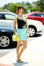 Light-yellow-bag-aquamarine-forever-21-skirt-chartreuse-galaxy-romwe-top