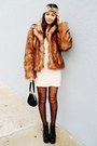 Eggshell-h-m-dress-burnt-orange-faux-fur-h-m-coat-black-asos-tights