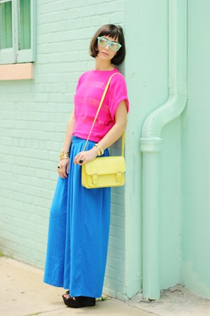 blue pants - light yellow bag - aquamarine sunglasses - hot pink top