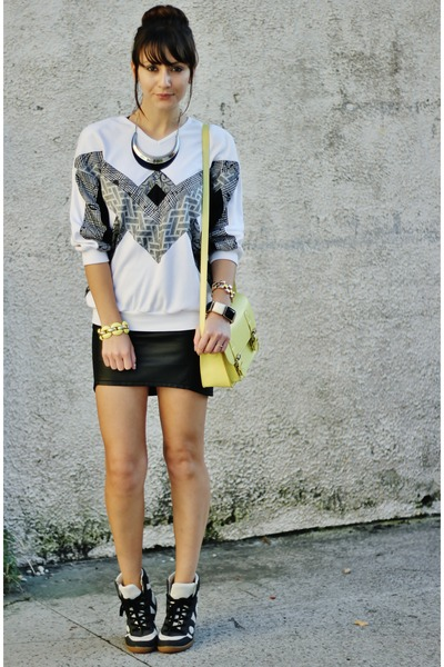 black hm skirt - yellow accessories - beige asos sneakers