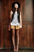 white top - black vintage hat - brick red Target bag - mustard vintage shorts