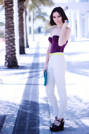 purple Vedette top - turquoise blue pieces bag - ivory H&amp;M pants