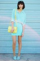 light yellow bag - aquamarine skirt - light blue loafers - aquamarine top