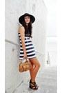Navy-striped-dress-black-skala-hat-tan-satchel-bag-black-diva-wedges