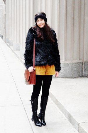 black faux fur coat - black boots - brick red bag - tawny diy shorts