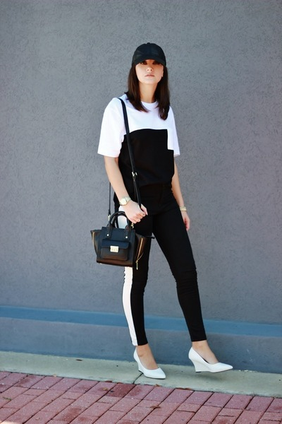 black for target 31 Phillip Lim bag - white PERSUNMALL wedges