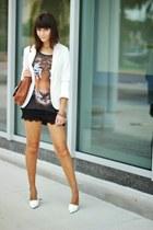 ivory PERSUNMALL blazer - black OASAP shorts - white Zara heels