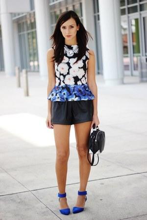 blue peplum Zara top - black leather OASAP shorts