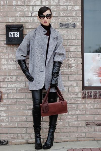 black leather hm pants - heather gray coat