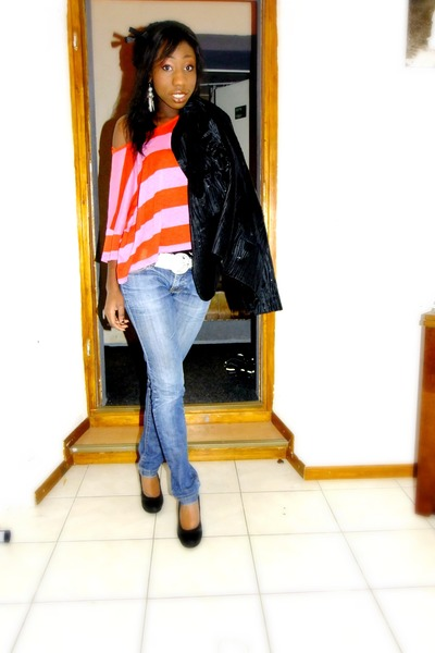 crop top H&M top - jeans - black blazer blazer - black hood H&M hoodie