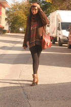 Dosenbach Switzerland boots - Esprit coat - H&M tights - scarf - leather bag bag